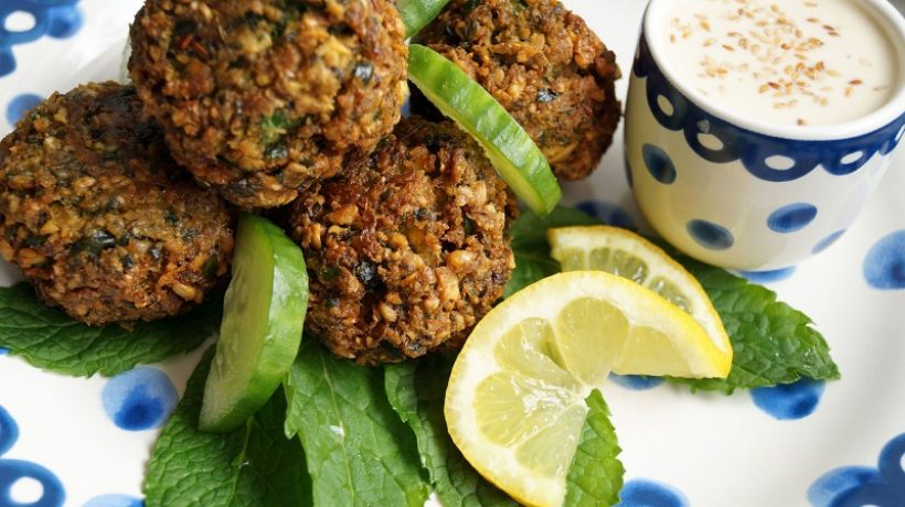 Chickpea meatballs and vegan vegetables, cold dish for the summer